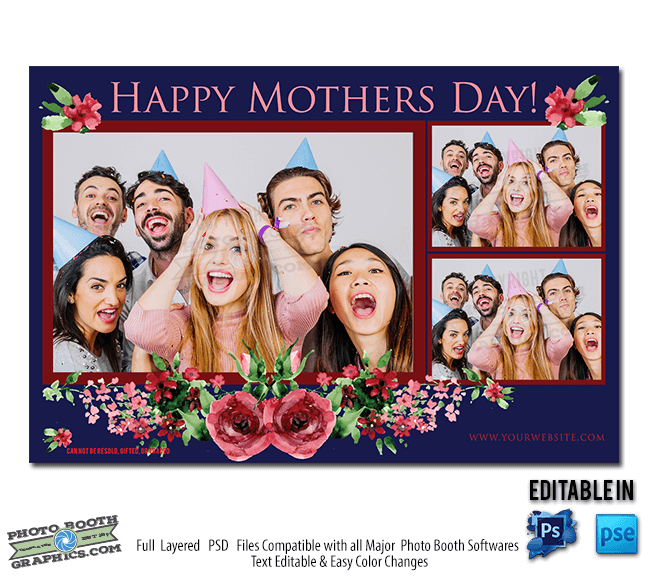 Creative Floral Flyer Of Happy Mothers Day Template For: 4x6 Pink Rose Mothers Day
