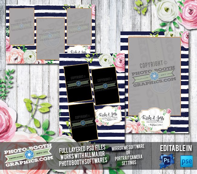 Striped Watercolor Flowers Set